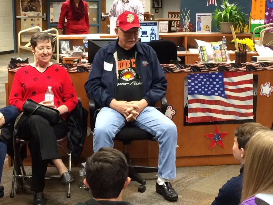 Students interview veterans in TWHS library 11/09/15