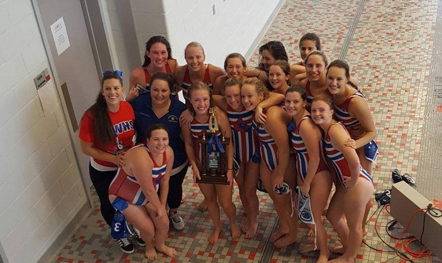 TWHS+Girls+Water+Polo+team+poses+with+trophy+after+final+match.+