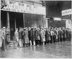 Men waiting in line for employment.