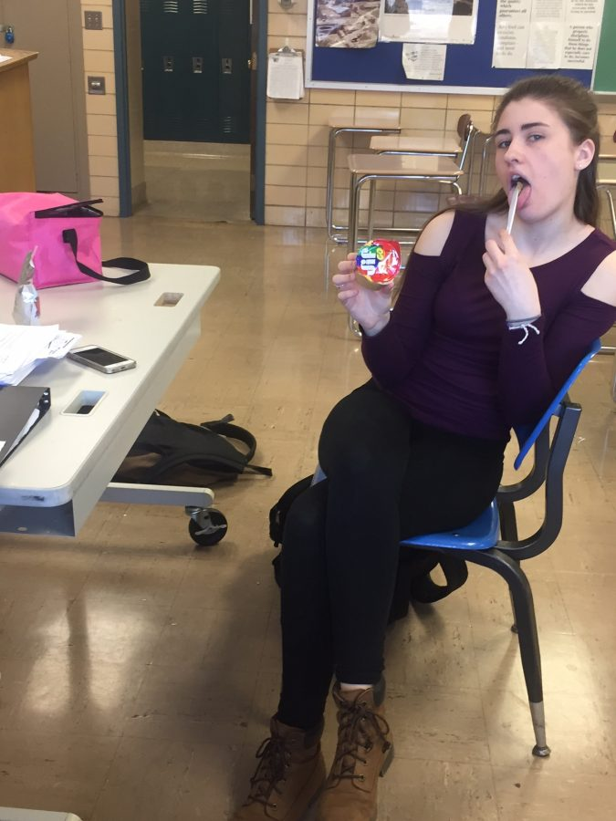 Thomas student, Nicole Bienvenue, loves peanut butter in her lunch.
