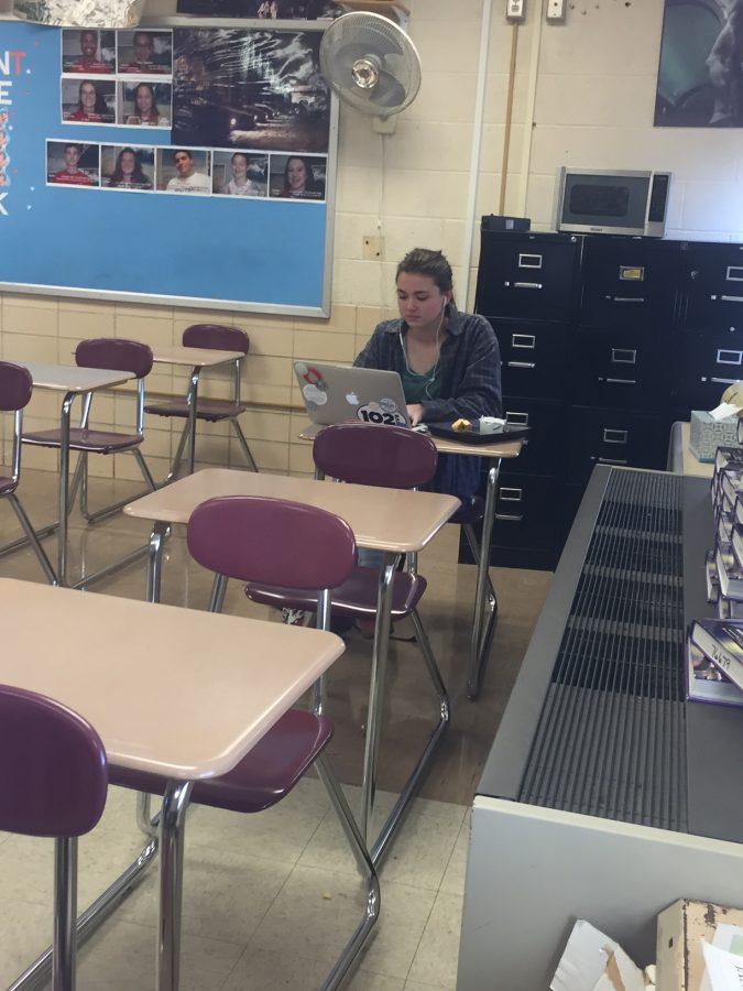 Thomas Worthington student, Maggie Rice, works hard on her homework.