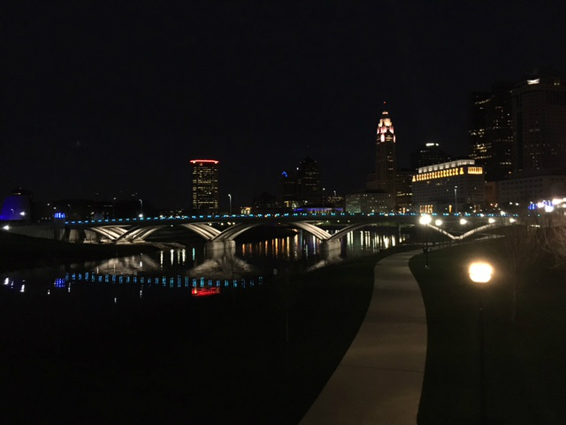 The Scioto Mile is a pretty sight at night when it's brightly lit.