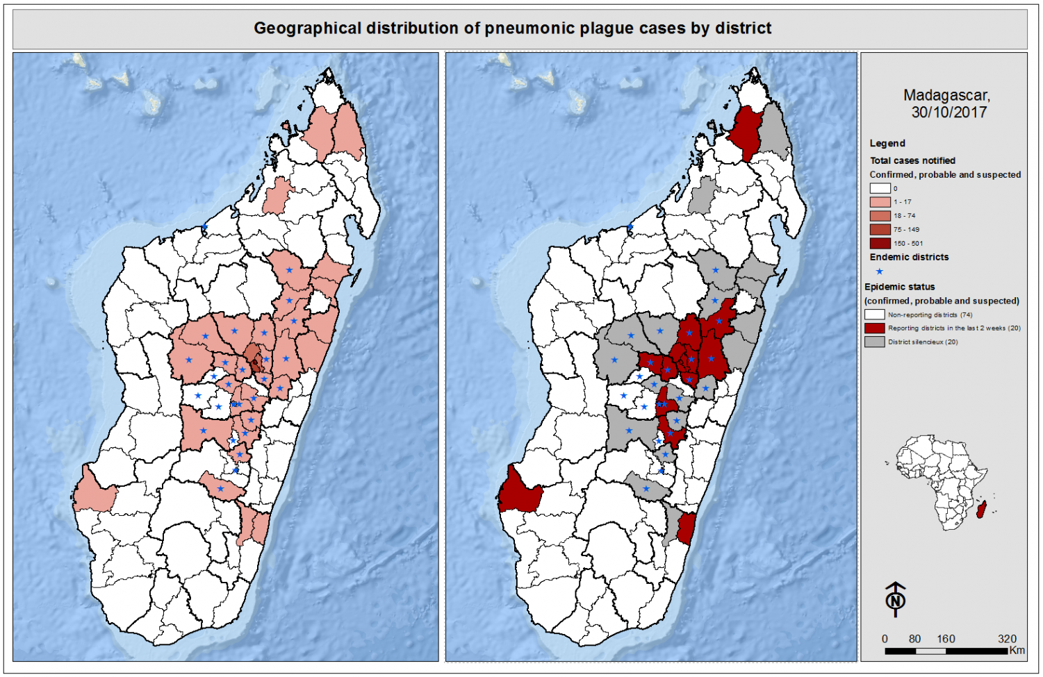 A photo of Madagascar's infected area's, the darkest red shows where it stared and is most vital