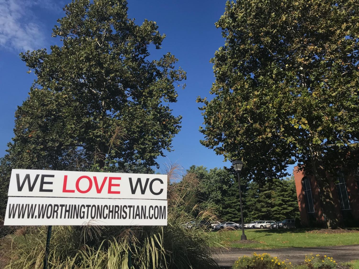 Worthington Christian places signs outside of their school that closely resemble the signs that Tim Ball uses to promote the ABCs of Betrayal website. Worthington Christian playfully mocks his cause by promoting love.
