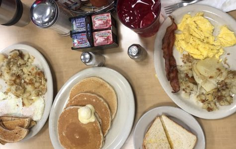 A breakfast of eggs, bacon, potatoes, toast, and pancakes from  George's Linworth Diner